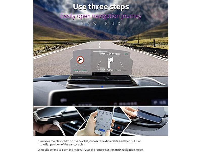 BESMOP Car HUD Bracket Wireless Charger and Head UP Display Mobile Phone GPS Navigation Image Reflector Holder