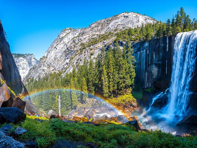 Picturasque Vernal Falls waterfall in Yosemite National Park. California, USA