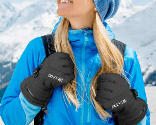 Velazzio Ski Gloves Waterproof Breathable Snowboard Gloves