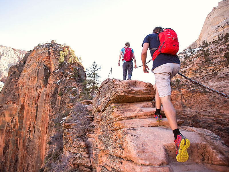 Hiking at Angels Landing in Zion national Park, Utah