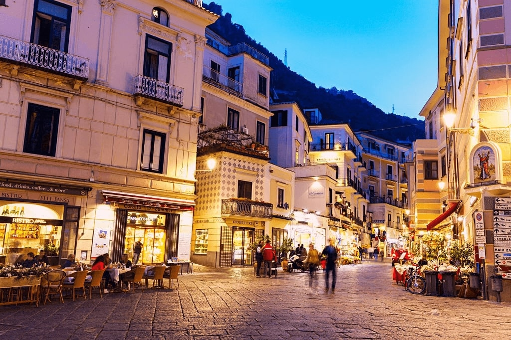 The beautiful street view of Amalfi Town, Italy