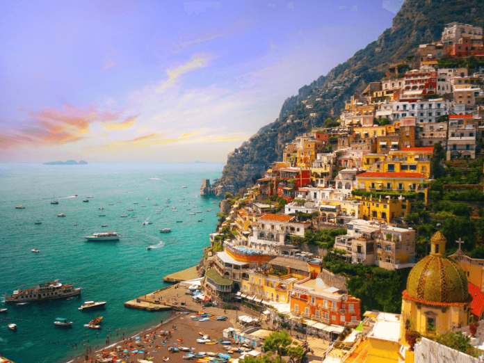A beautiful view of seaside city, Amalfi Coast, Italy