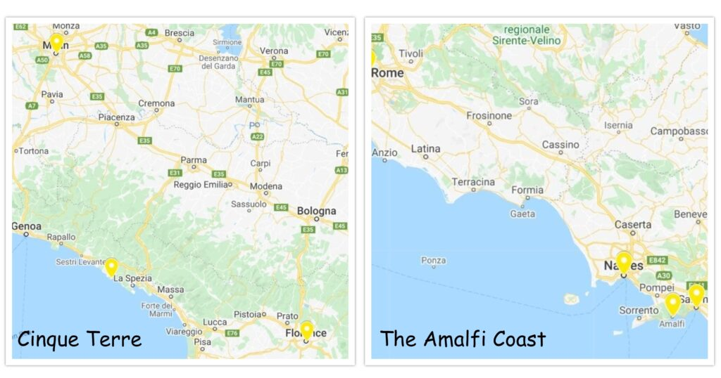 Location and access to get to Cinque Terre and Amalfi Coast
