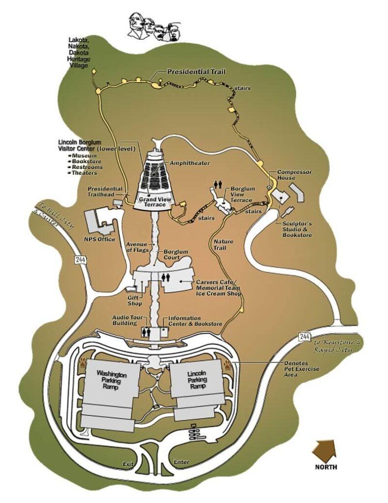 Map of Mount Rushmore National Memorial, South Dakota