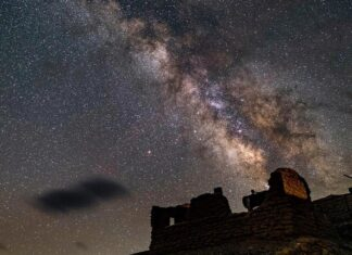 Milkyway over Borax Mill at Death Valley National Park, California