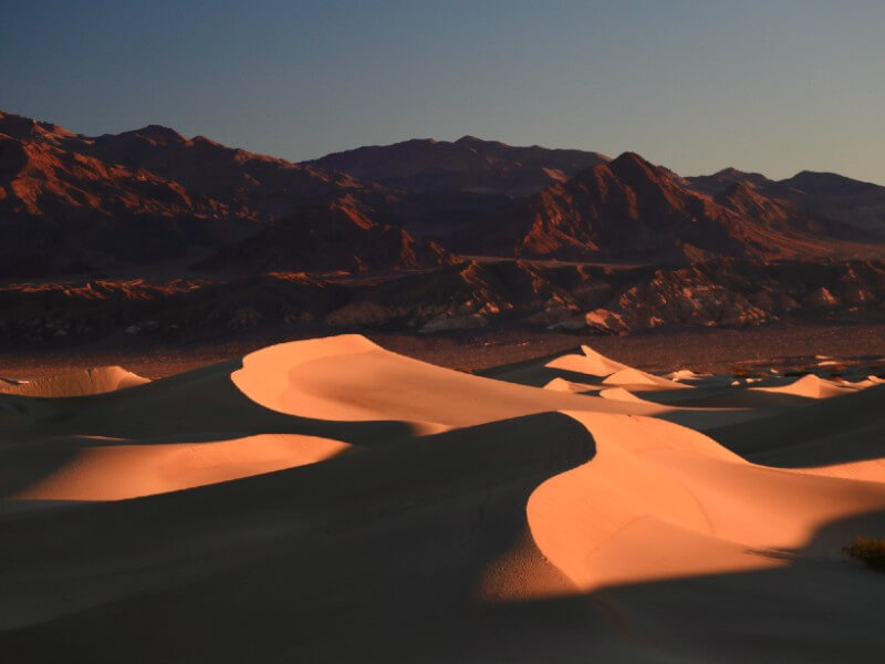 Sunset at Mesquite Flat Dunes in Death Valley